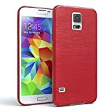 EAZY CASE GmbH Samsung Galaxy S5 / S5 LTE+ / S5 Duos / S5 Neo Schutzhülle Silikon, gebürstet, Slimcover in Edelstahl Optik, Handyhülle, TPU Hülle/Soft Case, Backcover, Silikonhülle Brushed Rot