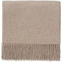 URBANARA Kaschmirdecke/Wolldecke 'Almora' - 100% reine Kaschmir-Woll-Mischung, Sand mit Fransen - 140 x 200 cm. Wohndecke/ Kuscheldecke/ Überwurf