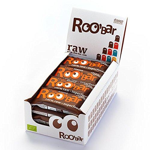 ROO\'BAR Kakao Nibs & Mandeln - 16 Stück (16x 50g) - Rohkost-Riegel mit Superfoods (bio, vegan, glutenfrei, roh)