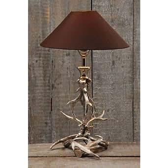 lampe tischlampe geweih aluminium silber 54cm beleuchtung. Black Bedroom Furniture Sets. Home Design Ideas