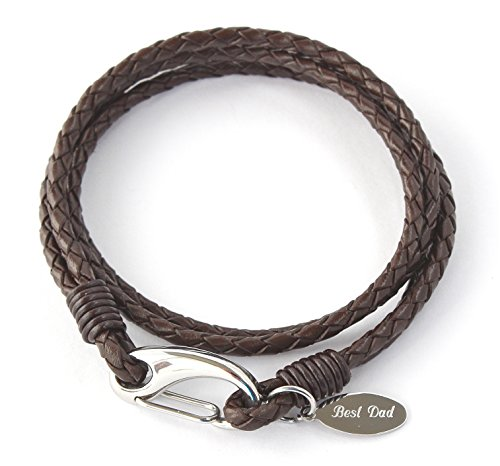 Men's Personalised Brown Leather Bracelet, Free Engraving,Gift Boxed