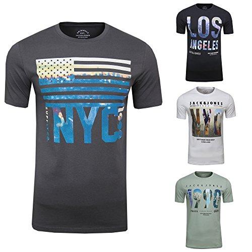 T-Shirt JORDOWNTOWN Tee SS Crew Neck Skyline Print, (4er Set,L) (Billig Tee-sets)