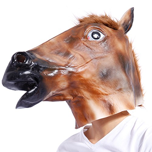 Anladia Pferdemaske für Halloween Kleid Maske Latex Tiermaske Pferdekopf Pferd Kostüm