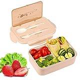 KATELUO Caja Bento Lunch Box Fiambrera Bento 1400 ml 3 Compartimentos 2 Capas con 1 Tenedor y 1 Cuchara,Apto para Microondas Y Lavavajillas | Duradero Saludable Y Apto para...