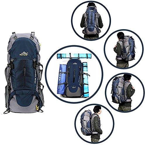 50L Trekkingrucksack Outdoor Wanderrucksack Reiserucksack Rucksack Mit Regenabdeckung Für Wandern, Bergsteigen, Reisen Sport und Camping Dark Blue