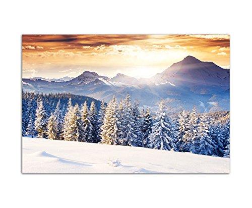 120x80cm - Fotodruck auf Leinwand und Rahmen Wald Berge Winter Schnee Landschaft - Leinwandbild auf Keilrahmen modern stilvoll - Bilder und Dekoration
