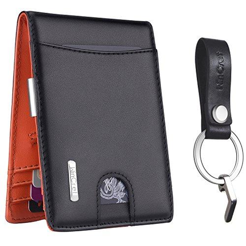 WinCret Geldbeutel Männer mit Geldklammer - Leder Geldbörse Herren mit Münzfach und Quittung Tasche - RFID Schutz Kreditkartenetui Brieftasche Schlankes Portmonaise und Schlüsselring Ideales Geschenk