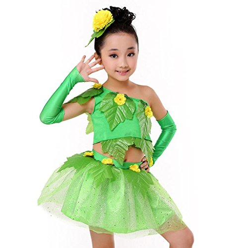 Byjia Kinder-Performance-Kostüme Grüne Blätter Blüten-Hauchrock Kleider Jazz-Tanz-Set Mädchen Kinder-Bühne Blumen-Mädchen Chor-Party Cheerleading Gruppen-Team . Picture Color . 110Cm (Jazz Dancer Halloween Kostüm)