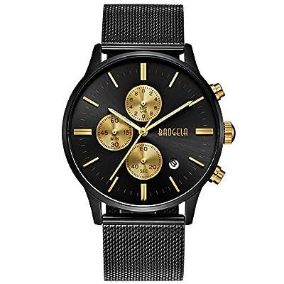 Reloj Hombre Acero Inoxidable Oro, Correa de Milanese Malla Negro, Cuarzo Analógico Elegante, Cronógrafo y resistente al agua - BAOGELA Brand