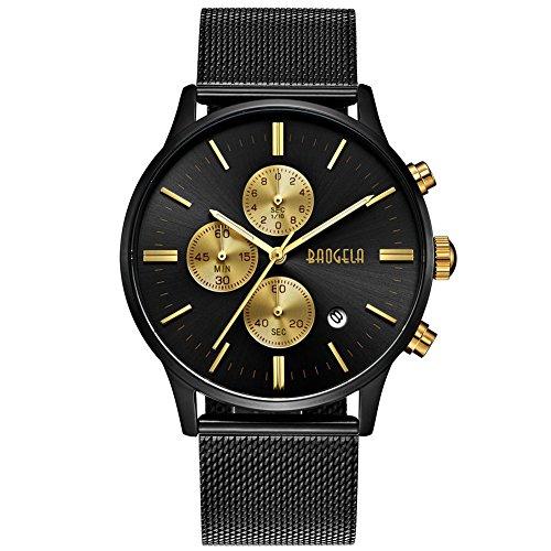 Herren Uhren Schwarz Edelstahl Mesh Armband Elegant - Analog Quarz Uhr - Gold Zifferblatt - Chronograph Wasserdicht Datum - BAOGELA Marken