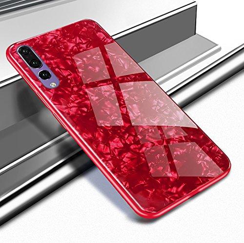 Ostop Coque Huawei P20,Étui Motif Coquillage Brillante Lisse Dur Housse Ultra Mince Verre Trempé Arrière Couverture Antichoc Souple Pare-Chocs Protection Coquille-Rouge