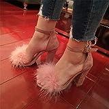 Die Große Zahl von Frauen Sandalen Schuhe mit Hohen Absätzen Dick mit Sandalen, Pink, 34