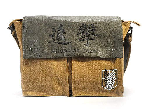 CoolChange Attack on Titan Leinentasche mit Logo des Aufklärungstrupp, - Attack On Titan Levi Kostüm