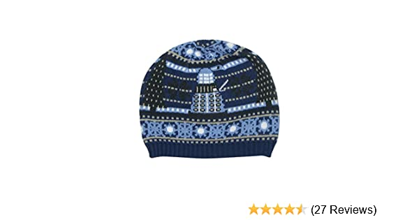 3753d457ac9 TARDIS and Dalek Christmas Hat - Official Doctor Who Knitted Hat by  LOVARZI  Amazon.co.uk  Clothing