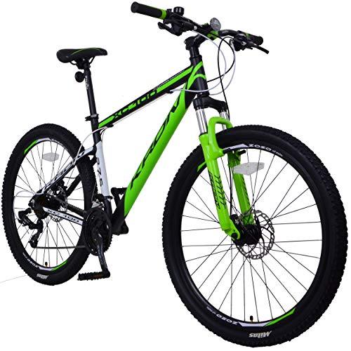 KRON XC-100 Hardtail Aluminium Mountainbike 29 Zoll, 21 Gang Shimano Kettenschaltung mit Scheibenbremse | 18 Zoll Rahmen MTB Erwachsenen- und Jugendfahrrad | Schwarz & Grün -
