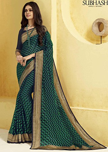 Subhash Vintage 6 Designer Saree-Green-SUT12502-VO-Synthetic Georgette