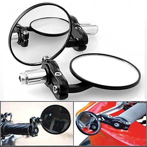 DLLL 2X 7,62 cm Euro Style Universal 2 way Multi ad angolo regolabile alloggio in alluminio anodizzato nero 2,22 cm manubrio motocicletta elettrico da estremità manubrio CIECA specchietto retrovisore convesso coprispecchietto laterale per Cruiser tritatutto Touring Standard Naked Street Racing Sport per bicicletta
