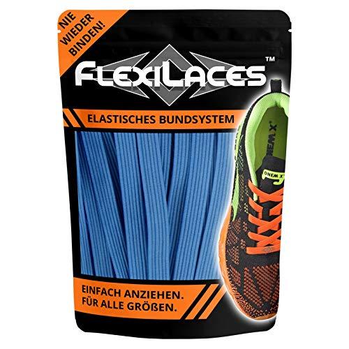 FLEXILACES - Flache elastische Schnürsenkel | Spannung einstellbar | viele Farben | nie Wieder Schuhbänder binden | passend für alle Schuhe - Baby-Blau