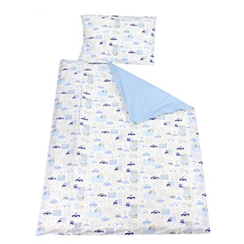 TupTam Kinder Bettwäsche Set Wendebettwäsche 100x135 2 tlg., Farbe: Autos Blau, Größe: 135x100 cm