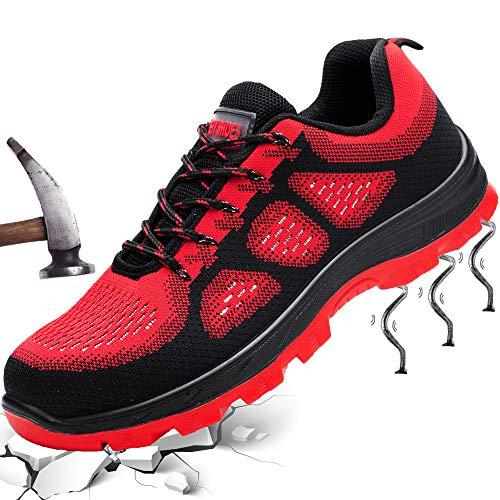 Fish&Fairy Sicherheitsschuhe Herren Damen Arbeitsschuhe Stahlkappe Schutzschuhe Leicht Atmungsaktiv Sportlich Traillaufschuhe Rot 46