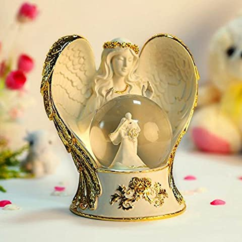 LIWUYOU Rotation Color Changing LED Light Christmas Eve Crystal Ball Angel Wings and Couples Musical Box With Music of the Wedding March, Gold
