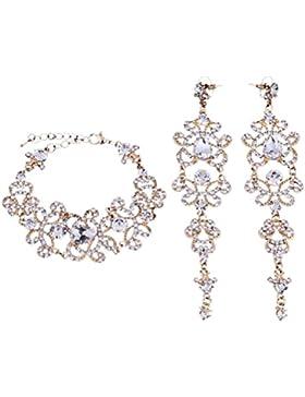 Schmuckset Armband Ohrringe Gold Strass Braut Hochzeit groß Schmuck NEU XXL (Armband+Ohrringe)