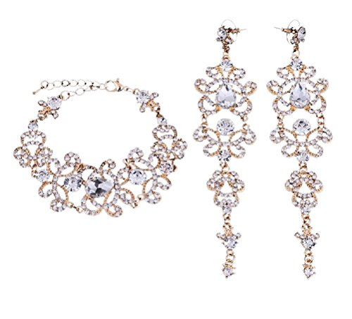 Unbekannt Schmuckset Armband Ohrringe Gold Strass Braut Hochzeit groß Schmuck NEU XXL (Armband+Ohrringe)