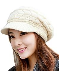 LATH.PIN Femmes Fille Dame Hiver chaud Bonnet Laine Tricoter Ski Cap Casquette chaud