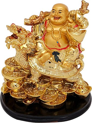 buycrafty Feng Shui Lachender Buddha sitzend auf Drachen Schildkröte Visitenkarte-13cm (Polyresin, Gold) - Indien-elemente