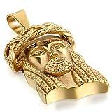 JewelryWe Schmuck Edelstahl HerrenKette, Jesus Christus Anhänger Halskette, mit 55cm Kette, Gold