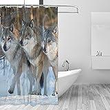 XiangHeFu Duschvorhang mit Haken 152,4x 182,9cm Drei Wölfe (Wasserdicht und Schimmelresistent 100%) für Frau Mann Badezimmer Home Decor
