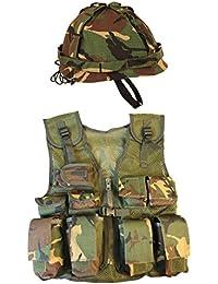Kombat UK Kids Dpm Assault Vest + Helmet Set, Camo, One Size