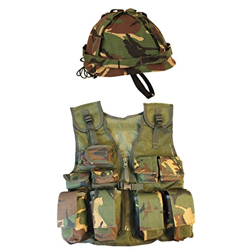 Kombat UK Kids DPM Assault Weste + Helm Set, Camo, One size (Gun Airsoft M1)