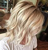 Ugeat 10 Zoll Deep Wave Lace Front Bob Wig Tiefe Welle Lace Front Brasilianische Echthaar Front Lace Bob Off Black Ombre mit Bleach Blonde