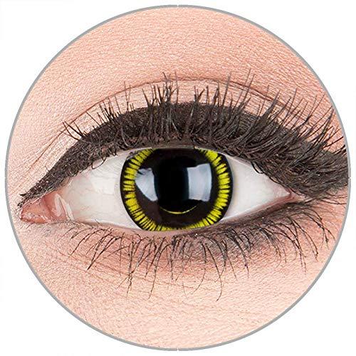 Farbige Kontaktlinsen zu Fasching Karneval Halloween in Topqualität von 'Glamlens' ohne Stärke 1 Paar Crazy Fun schwarze gelbe 'Black Zombie #438' mit - Gelb Darth Maul Kostüm