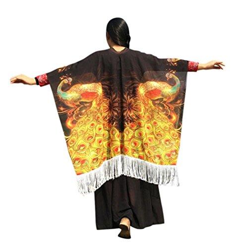 Overdose Frauen 147 * 110CM Bohemian Phoenix Print Quasten Schal Fairy Damen Pashmina Kostüm Zubehör (147 * 110CM, B-Gold)
