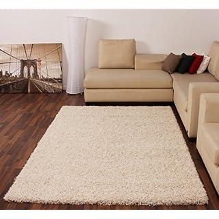 AHOC Shaggy Rug High Pile Long Pile Modern Carpet Uni Cream Ivory, Dimension:160x220 cm