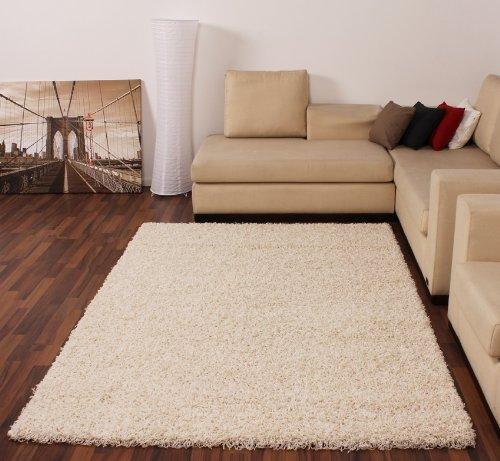 Shaggy Hochflor Langflor Teppich Sky Einfarbig in Creme, Grösse:150 cm Quadrat