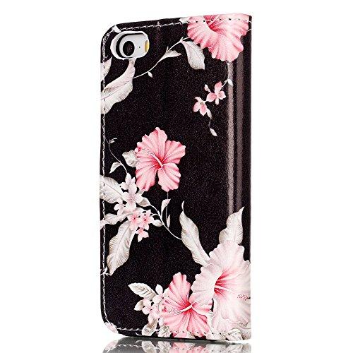 """MOONCASE iPhone 5/iPhone 5s/iPhone SE Hülle, [Colorful Pattern] Stoßfest Ganzkörper Schutzhülle mit Ständer Leder Handytasche Case für iPhone SE 4.0"""" Pink Green Azalea"""