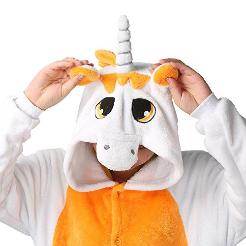 LATH.Pin® Jumpsuit Unisex animale cartone Carnevale costumi di Halloween Jumpsuit tuta pigiama in pile pigiama adulti Lounge Einhorn Orange