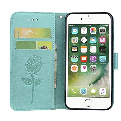 Wkae Roses gepresstes Blumen-Muster-Schlag-Leder-Kasten mit Halter u. Karten-Schlitzen u. Mappe für iPhone 7 iPhone 8 ( Color : Purple ) Green