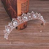 LIJIEE Cristal Strass Mariée Coiffure Couronne Accessoires De Mariage Accessoires De Cheveux De Mariée Rose d'or 27.5 * 3.5cm
