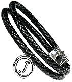 Lufetti® Lederarmband Love mit Buchstaben Namen Initialen, echtes Leder schwarz (J)