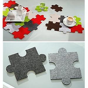 Filz Untersetzer Puzzle, 6er Set 3xhellgrau 3xdunkelgrau, waschbar, Filzuntersetzer, Gilde Handwerk