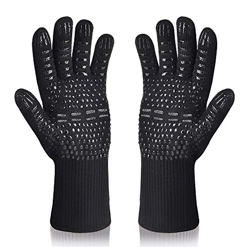 Hoxida BBQ Gloves Grill Gloves, Grilling Gloves Extreme Heat Resistant High up to 500 ℃ / 932 ℉, Grilling Glove Oven Gloves with EN407 Certified for BBQ, Grill, Cooking, Baking, Welding, Black, 1 Pair