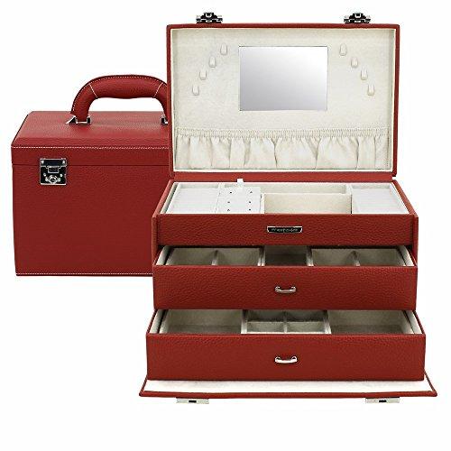 Friedrich|23 Coffret à Bijoux Femme en Cuir Synthétique Rouge, 3400 Grammes
