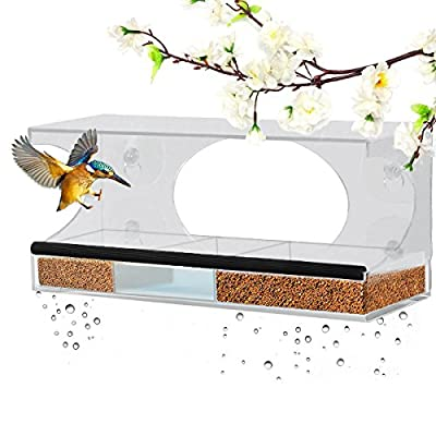 Window Bird Feeder - Homeme Large Bird Feeder With Drain Holes & Removable Tray from Homeme