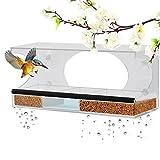 Homeme Fenster-Futterhaus, große Vogelfutterstation mit Abflusslöchern und abnehmbarem Tabl