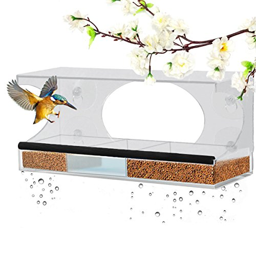 Homeme Fenster-Futterhaus, große Vogelfutterstation mit Abflusslöchern und abnehmbarem Tablett Test