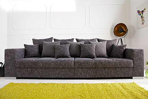 Design XXL Sofa BIG SOFA ISLAND in grau charcoal Strukturstoff inkl. Kissen - 3